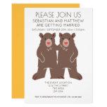 Two Grooms Cartoon Bear Wedding Gay Invitation