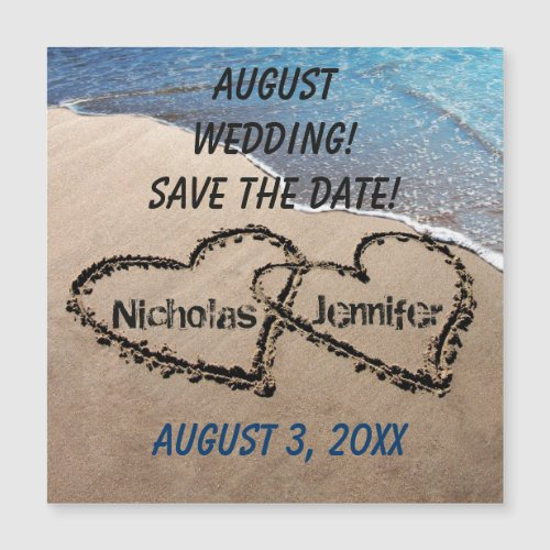Two Hearts In Sand Save The Date Magnetic Card