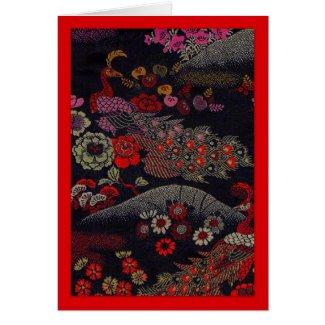 Two Peacocks on Silk Obi Fabric Greeting Card