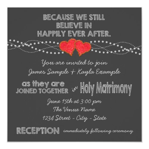 Two Red Hearts Chalk Wedding Invitation