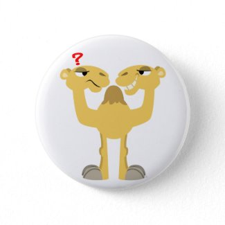 Two sides of the Same Cartoon Camel Button Badge button