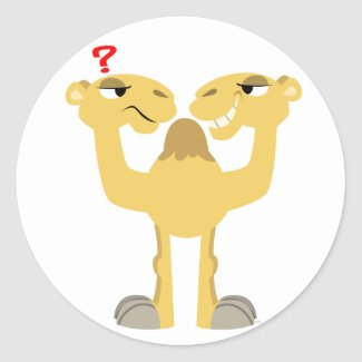 Two sides of the Same Cartoon Camel Sticker sticker