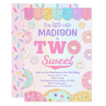 TWO Sweet Rainbow Donut 2nd Birthday Invitation