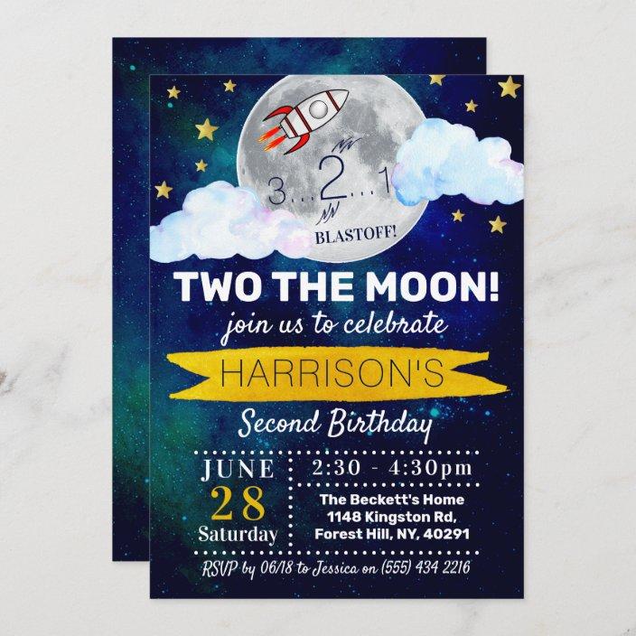 two the moon 2nd birthday invitation zazzle com