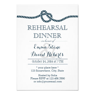 Tying The Knot Nautical Wedding Rehearsal Dinner Card