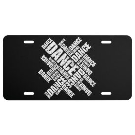 Typographic Dance (Distressed) License Plate