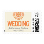 Typographic Ornamental Orange Wedding Postage Stamps