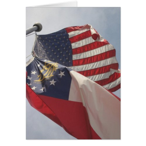 U.S. and Georgia Flags on Courthouse Square card