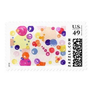 "U.S. Postage Stamps, Watercolor Print, ""Bubbles"""