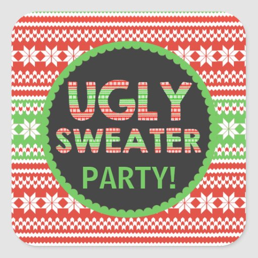 Ugly Sweater Word Art Christmas Party Sticker Zazzle