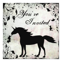 Unicorn and Fairies Magical Fairy Birthday Invite