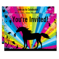 Unicorn and Fairies Rainbow Birthday Invitation