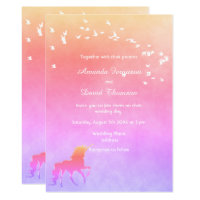 Unicorn and rainbow colors wedding invitation card