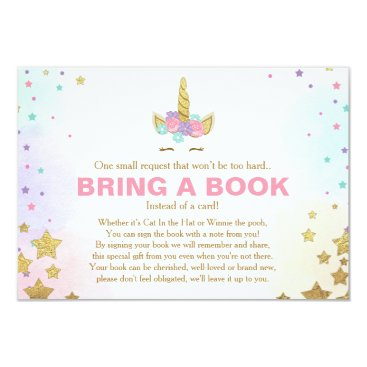 Unicorn Baby Shower Bring a book Pink Gold Girl Card