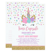 Unicorn Birthday Guestbook Time Capsule With Notes Card