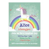 Unicorn Birthday Invitation - Rainbow Party