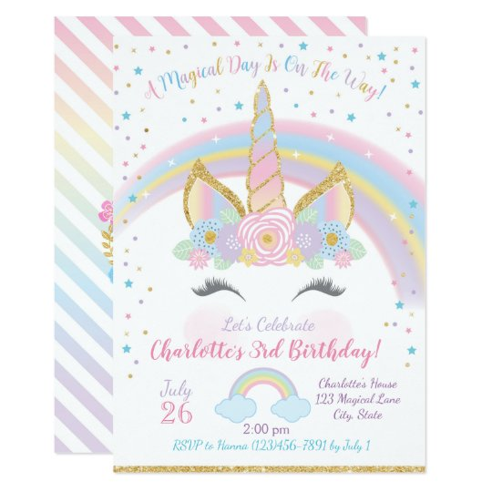 Unicorn Birthday Invitation Unicorn Party Invite