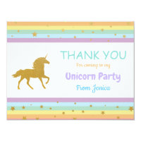 Unicorn Birthday Party Thank You Invite Card Cards