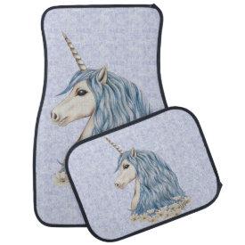 Unicorn Blue Hair Car Mat