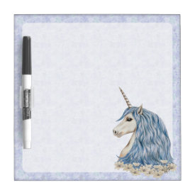 Unicorn Blue Hair Dry-Erase Board
