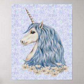 Unicorn Blue Hair Poster