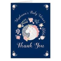 Unicorn Blush & Navy Baby Shower Thank You Card