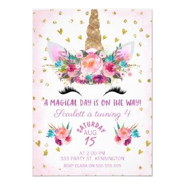 Unicorn Face Floral Birthday Invitation