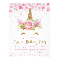 Unicorn Face Girl Birthday Party Invitations