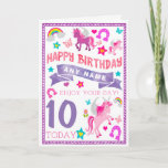 ❤️ Unicorn Girls Personalised Birthday Card