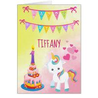 Unicorn Happy 1st Birthday Girl Card