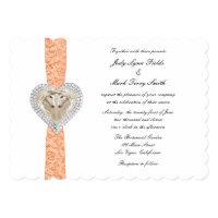 Unicorn Orange Lace Wedding Invitation