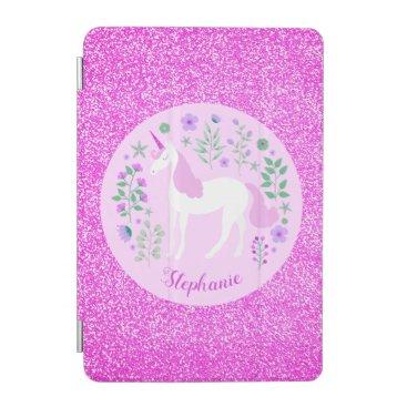Unicorn Pink Glitter Personalized Name iPad Mini Cover