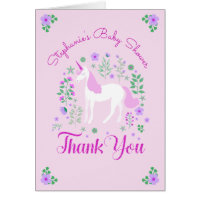 Unicorn Pink Personalized Baby Shower Thank You Card