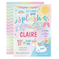 Unicorn Pool Party Invitation, Pool Bash Birthday Card