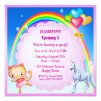 Unicorn, Princess Kitty & Rainbow Party Invites