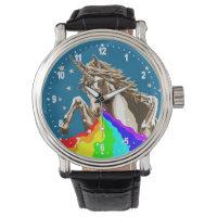 Unicorn pukes rainbow wrist watch