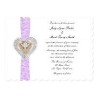 Unicorn Purple Lace Wedding Invitation