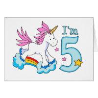 Unicorn Rainbow 5th Birthday Card