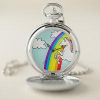 Unicorn Rainbow Pocket Watch