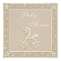 Unicorn Rocking Horse Neutral Baby Shower Card