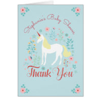 Unicorn Rose Gold Glitter Baby Shower Thank You Card