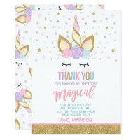 Unicorn Thank You Card Pink Gold Magical Unicorn
