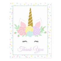 Unicorn Thank You Card Postcards
