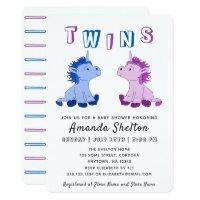Unicorn Twins Baby Shower Invitation Card