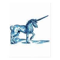 UNICORN vintage print c.1551 in blue Postcard