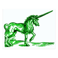 UNICORN vintage print c.1551 in green Postcard