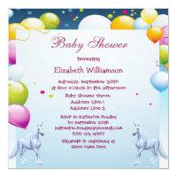 Unicorns & Balloons Girls Baby Shower Card