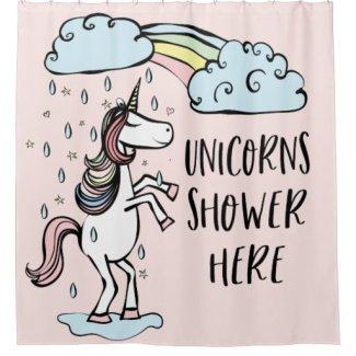 Unicorn Shower Curtain - Unicorns Shower Here