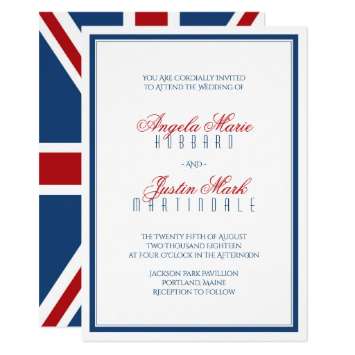 Union Jack Flag Patriotic Wedding Invitation