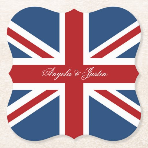 Union Jack Flag Wedding Paper Coaster